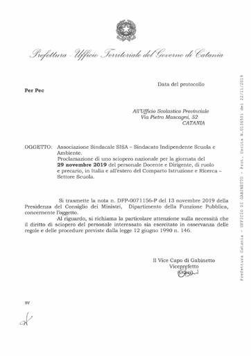 Associazione Sindacale SISA - Proclamazione sciopero nazionale per il 29/11/2019