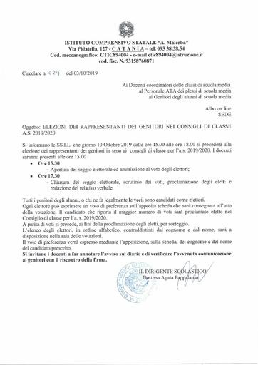 029 Elezioni dei rappresentanti dei genitori nei consigli di classe a.s. 2019/2020