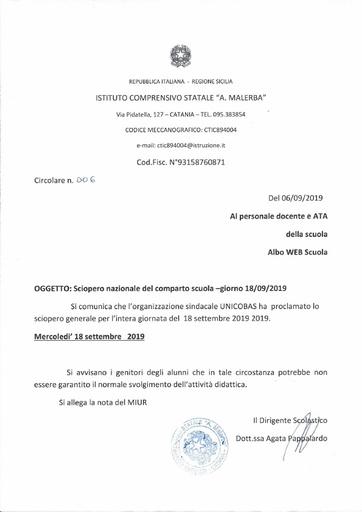 006 Sciopero nazionale del comparto scuola - giorno 18/09/2019
