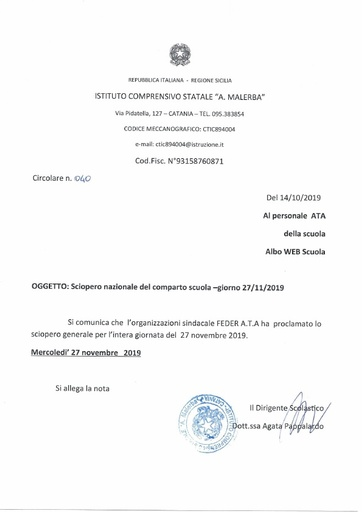 040 Sciopero nazionale del comparto scuola - giorno 27/11/2019