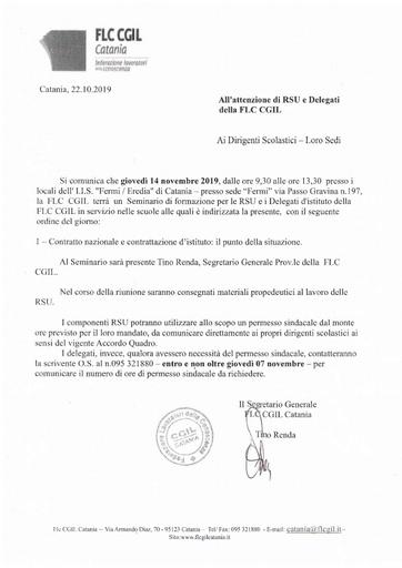 Convocazione Seminario RSU e Delegati FLC CGIL del 14 novembre 2019 presso I.I.S. Fermi-Eredia di Catania