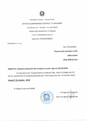 043 Sciopero nazionale del comparto scuola - giorno 25/10/2019