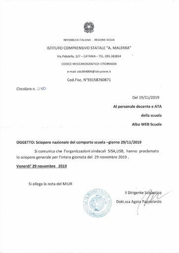 Sciopero nazionale del comparto scuola - giorno 29 novembre 2019